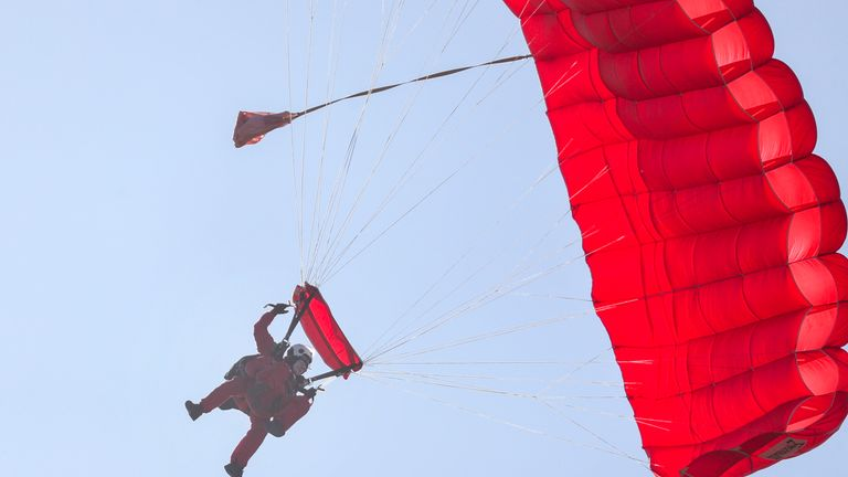 Former paratrooper Sandy Cortmann, 97. The Parachute Regiment veteran from Aberdeen, arrived at the Ginkel Heath commemorations today by a tandem jump with The Red Devils British Army Parachute display team as part of the Operation Market Garden 75th anniversary commemorations near Arnhem, Netherlands..PA Photo. Picture date: Saturday September 21, 2019. See PA story MEMORIAL Arnhem. Photo credit should read: Steve Parsons/PA Wire