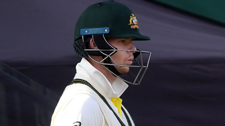 Steve Smith of Australia walks out to bat on day two of the fourth Test