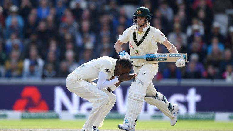 Jofra Archer missed a return catch off Steve Smith early on day two at Old Trafford