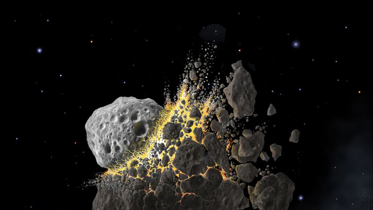 An illustration issued by the Southwest Research Institute of the giant asteroid collision in outer space that produced the dust that led to an ice age on Earth