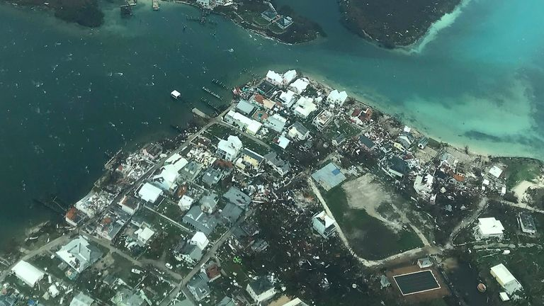 Nassau, BAHAMAS - 9/3/2019: Hand out aerial photo of Hurrican Dorian devastated Abaco Island. (HANDOUT HEAD KNOWLES FOUNDATION)