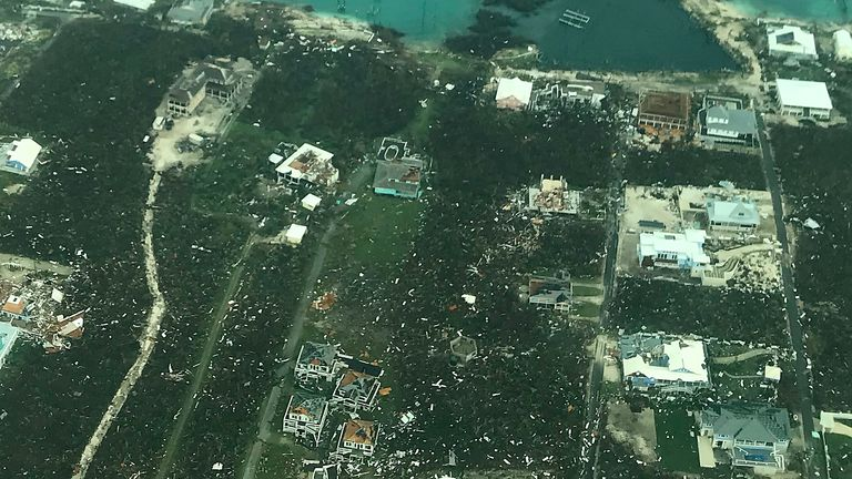 Houses on Abaco Island were destroyed by Hurricane Dorian