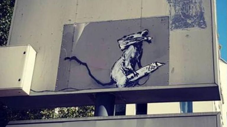 The Banksy artwork was stolen from outside the Pompidou Centre in Paris Image: @CentrePompidou