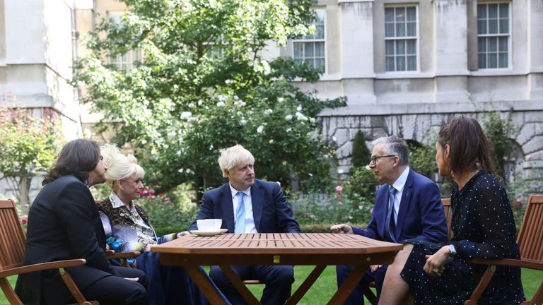Dame Barbara Windsor and her husband Scott Mitchell meeting Prime Minister Boris Johnson