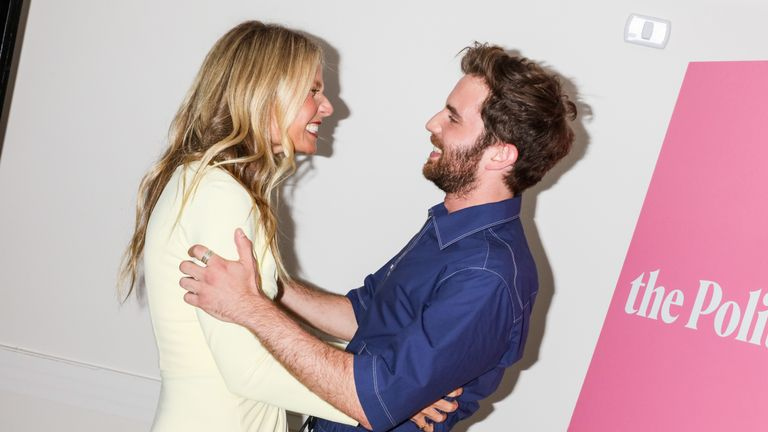 Ben Platt gets to grips with co-star Gwyneth Paltrow at a promotional party for the series