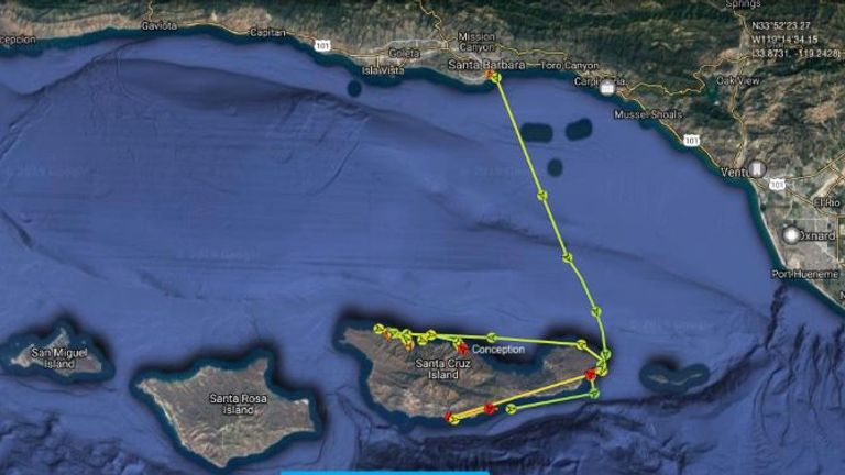 An image of the route the boat took after leaving Santa Barbara. Pic: MarineTraffic.com