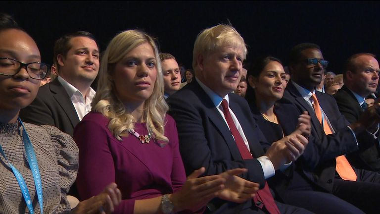Boris Johnson and his girlfriend Carrie Symonds at the Conservative Party conference.