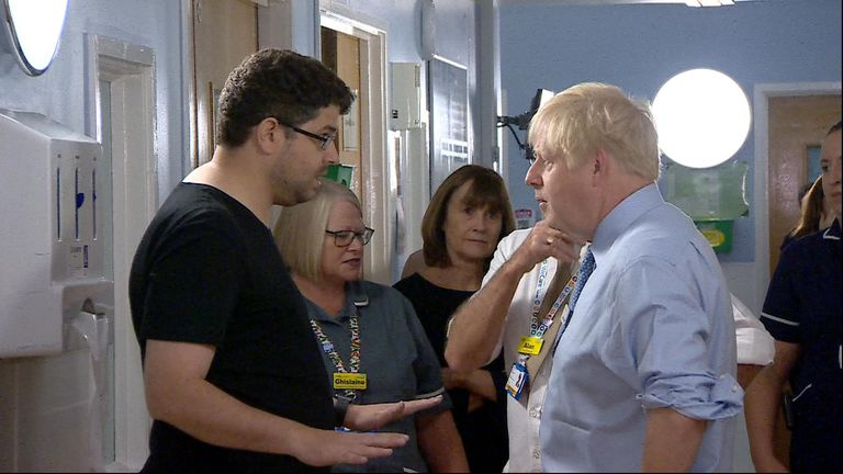 "The prime minister's visit to a hospital was interrupted by a parent angry over ""years and years and years of the NHS being destroyed"""