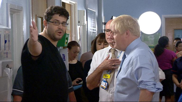 Patient's relative confronts the PM over NHS pressures.