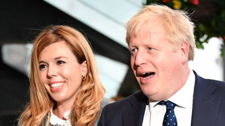 Boris Johnson arrived in Manchester with his partner Carrie Symonds