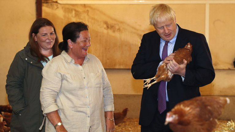 Britain's Prime Minister Boris Johnson, (R), accompanied by local farmers Ingrid Shervington and her daughter Victoria Shervington-Jones, inspects the chickens during his visit to rally support for his farming plans post-Brexit, at Shervington Farm, St Brides Wentlooge near Newport, south Wales on July 30, 2019. (Photo by Adrian DENNIS / various sources / AFP) (Photo credit should read ADRIAN DENNIS/AFP/Getty Images)