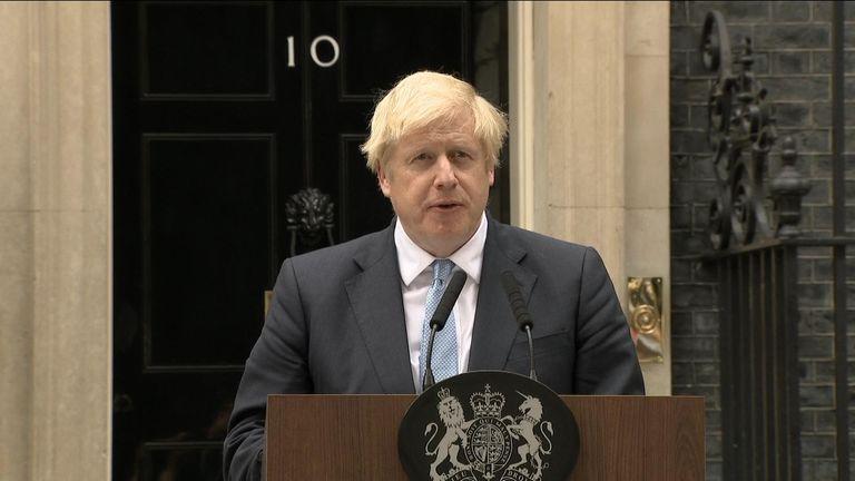 Boris Johnson making a speech in Downing Street