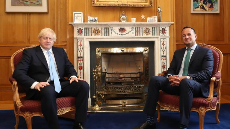 Leo Varadkar (R) and Boris Johnson (L) pose for a photograph before holding talks
