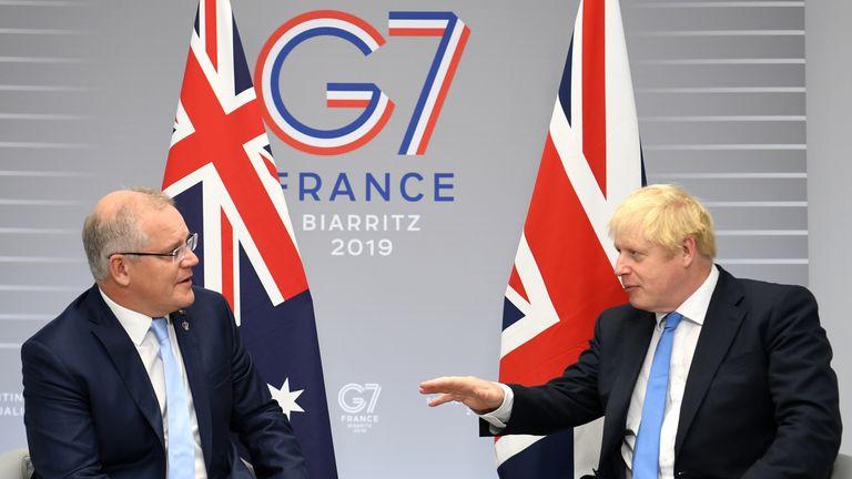 British Prime Minister Boris Johnson meets Australian Prime Minister Scott Morrison