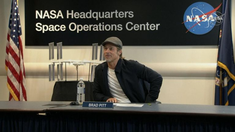 Film star Brad Pitt talks with astronaut Nick Hague in orbit