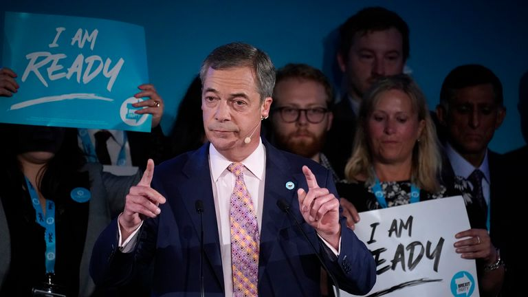 Leader of the Brexit Party, Nigel Farage addresses the audience during the final event of the Brexit Party Conference Tour