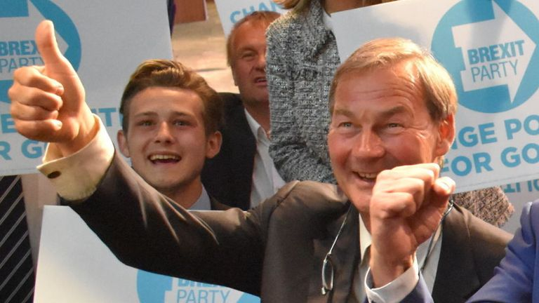 Andrew England Kerr (right) was one of the Brexit Party's three winning candidates in the West Midlands region
