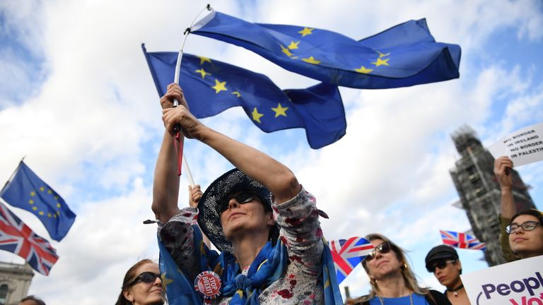 LONDON, ENGLAND - SEPTEMBER 04:  Pro-remain supporters gather in Westminster on September 4, 2019 in London, England. Activists from People's Vote, Young Conservatives and other organisations protested against the governments stance on Brexit as MPs were debating legislation to block a 'No-deal' Brexit. (Photo by Chris J Ratcliffe/Getty Images)