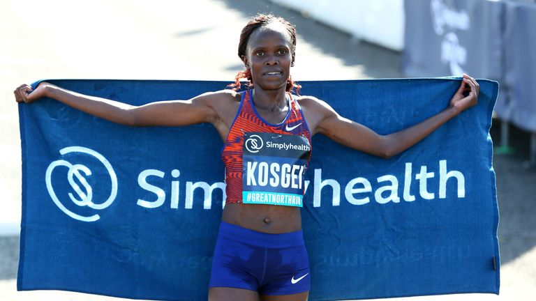 Brigid Kosgei set two records in the women's elite race