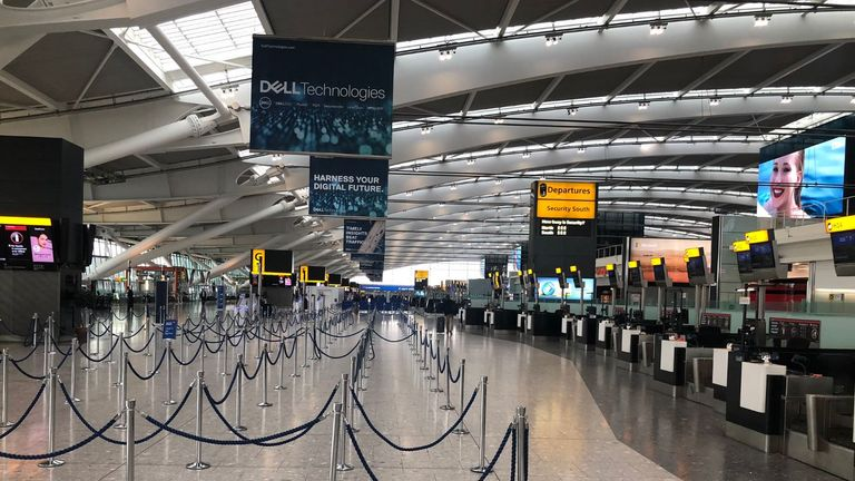 Heathrow Terminal 5 is being described as a 'ghost town' on Twitter. Pic: @rahulkalia99