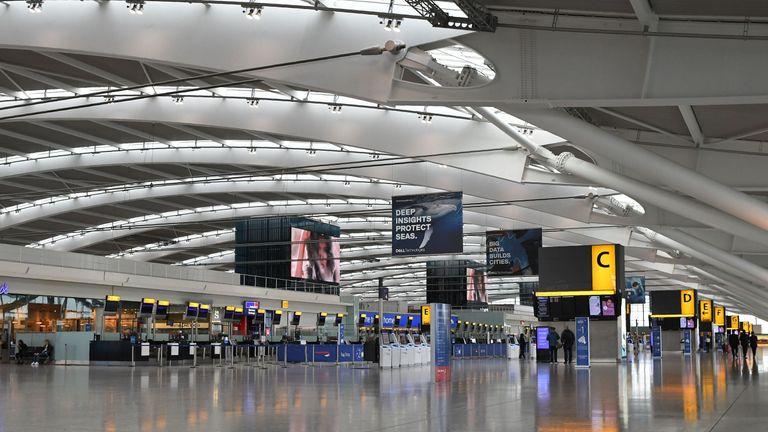 Heathrow Terminal 5 has been described as a 'ghost town'
