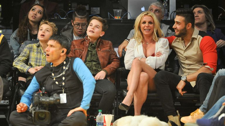Britney Spears with her sons Sean (L) and Jayden (R)
