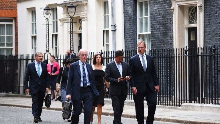 Business leaders depart after a meeting at 11 Downing Street on September 2, 2019