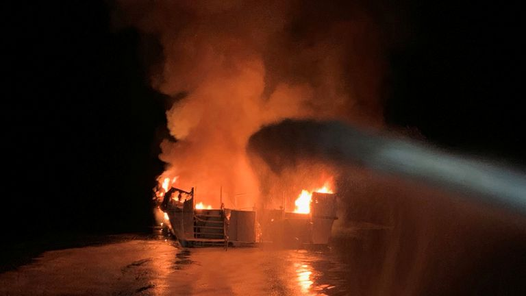 Fire breaks out on a boat off Santa Cruz Island coast