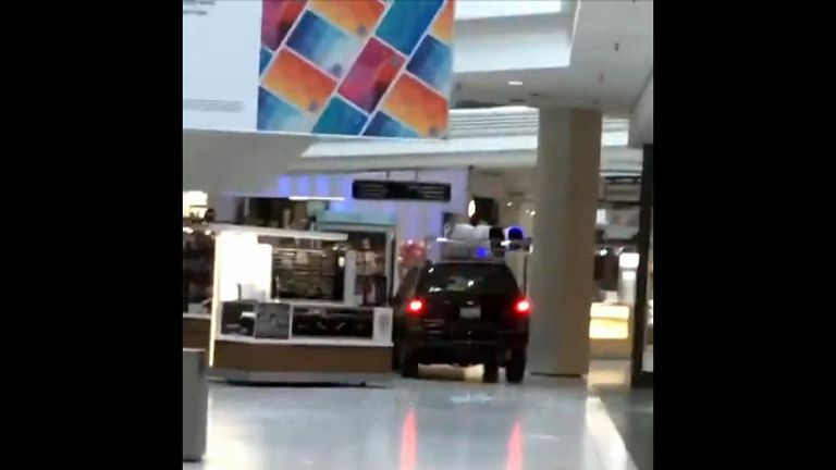A car in a mall in Chicago. Pic: Ronin Diedenhofen