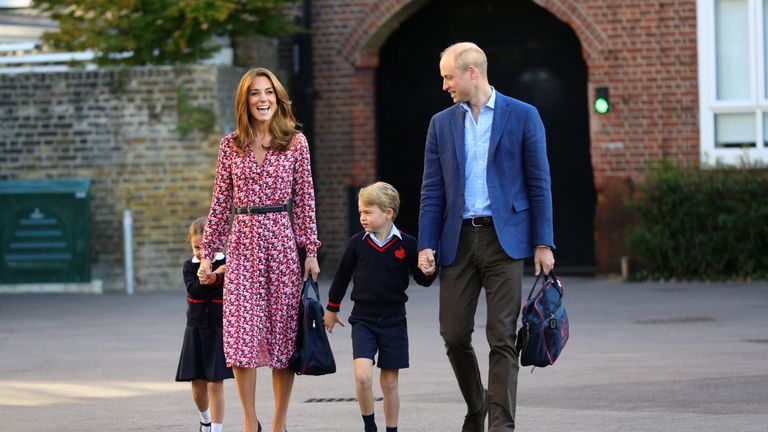 The Cambridge family joined Charlotte as she started her first day at school