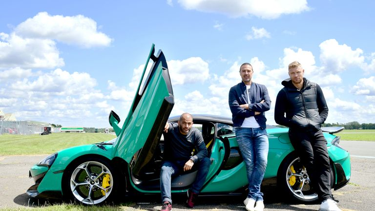 Chris Harris, Paddy McGuinness and Andrew Flintoff with a McLaren 600LT on the Top Gear test track in Dunsfold Park, Cranleigh, during the media launch for the new series of Top Gear