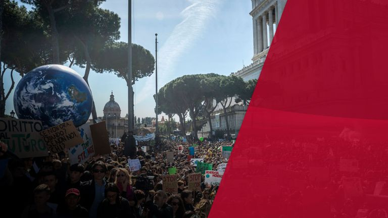 Schoolchildren in Italy protesting last year
