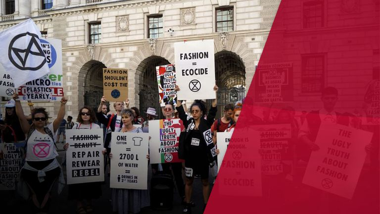 Protesters outside London Fashion Week