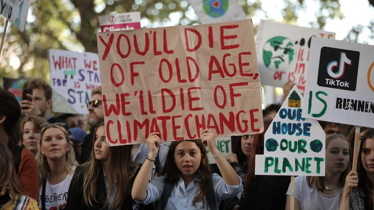 ONDON, ENGLAND - SEPTEMBER 20: Children hold up placards as they attend the Global Climate Strike on September 20, 2019 in London, England. Millions of people are taking to the streets around the world to take part in protests inspired by the teenage Swedish activist Greta Thunberg. Students are preparing to walk out of lessons in what could be the largest climate protest in history. (Photo by Dan Kitwood/Getty Images)