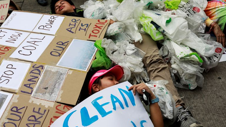 More than 200 young people stormed the environment ministry in Bangkok