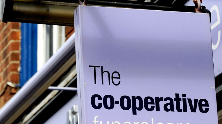 General view of Co-Operative funeral care sign at a shop, Sutton Coldfield, West Midlands. PRESS ASSOCIATION Photo. Picture date: Wednesday September 26, 2012. See PA story CONSUMER Coop. Photo credit should read: Rui Vieira       /PA Wire