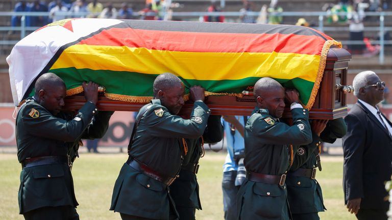 Supporters of Robert Mugabe have been able to view his body at a local stadium