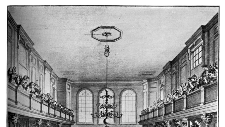 Interior of the House of Commons, Westminster, London, 1742, (c1902-1905). Speaker Onslow in the chair, Sir Robert Walpole, first Prime Minister of Great Britain, addressing the House. Illustration from Parliament Past and Present by Arnold Wright and Philip Smith, (London, c1905). (Photo by The Print Collector/Print Collector/Getty Images)