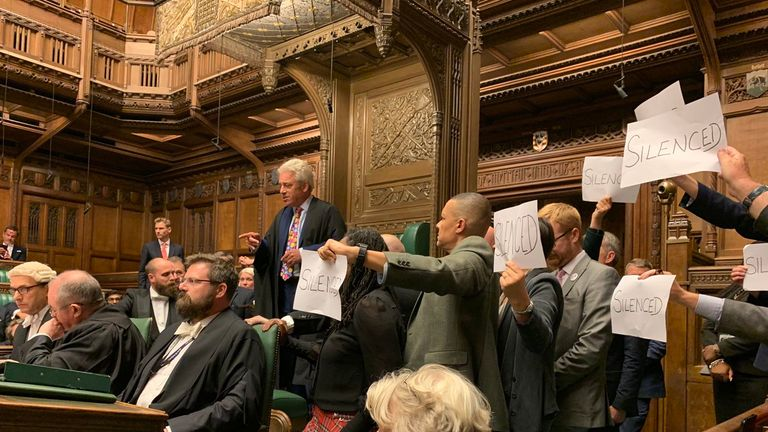 Labour MPs show their objection to the suspending of parliament Pic: Stephen Morgan MP