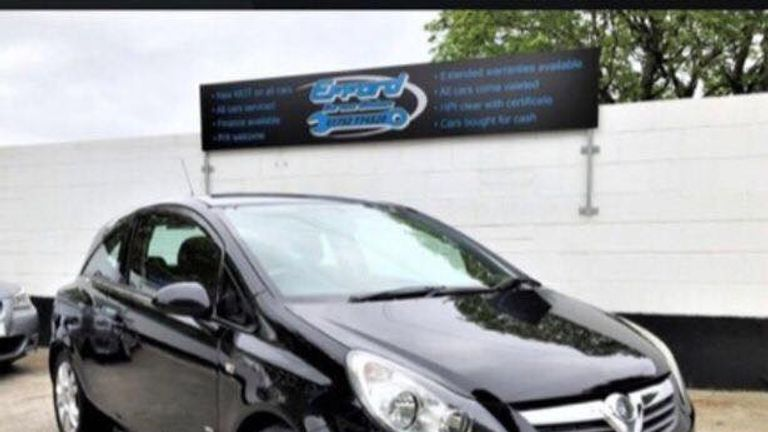 Connor's car is a Vauxhall Corsa SXI