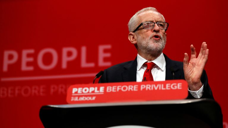 Corbyn tells 'unelected' PM to resign at Labour conference