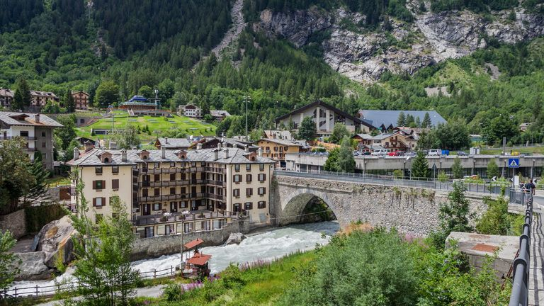 Roads near Courmayeur have been closed off in case part of the glacier collapses