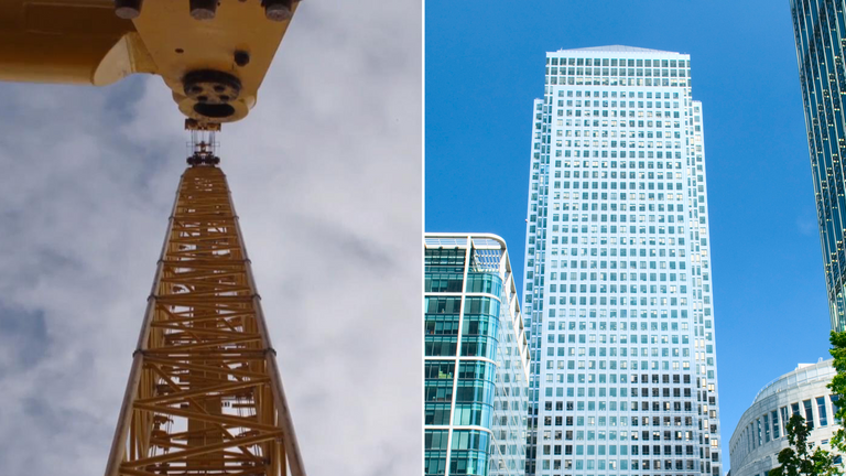 The crane is taller than One Canada Square. Pic: Sarens
