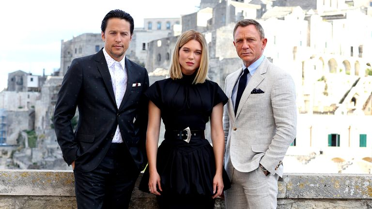 Daniel Craig, Léa Seydoux and director Cary Joji Fukunaga in Matera