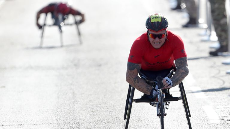 David Weir won the men's elite wheelchair race