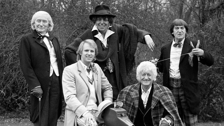 A gathering of Doctors (L-R): Richard Hurndall (who played the late William Hartnell), Peter Davidson, a  model of Tom Baker, John Pertwee and Patrick Troughton
