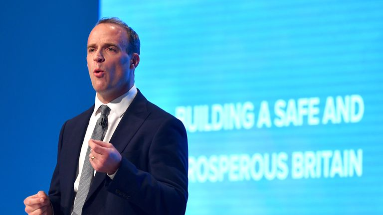 Dominic Raab speaks during the first day of Conservative Party Conference