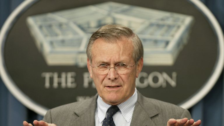 Secretary of Defence Donald Rumsfeld in 2002