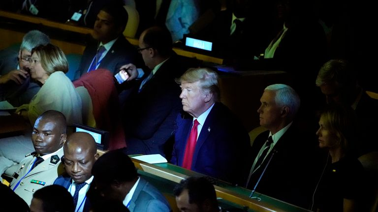 Donald Trump at the climate action summit, despite being a climate change sceptic