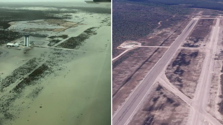 The Abaco Islands airport under water after Hurricane Dorian struck. Pic R Google Earth